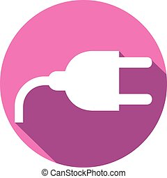 power plug flat icon (power cord symbol)