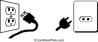 power plug icon on white background