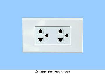 Power plug isolated on blue background.