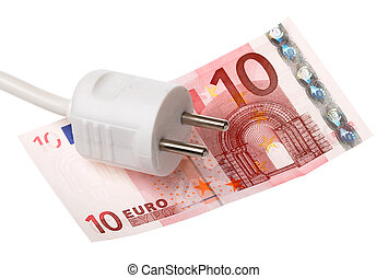 Power plug on Euro bill