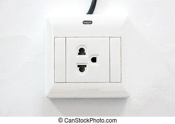 Power plug on white background.