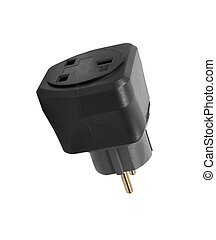 Power plug travel adapter, isolated on white background
