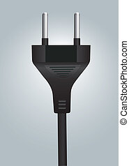 Power plug wire close up on light blue background. Vector file available.