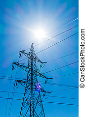 the utility pole of a high voltage line. symbol photo for energy. against blue sky