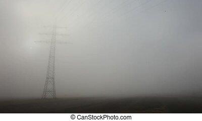 Power Pole With Fog