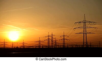 Power Poles And Sunset