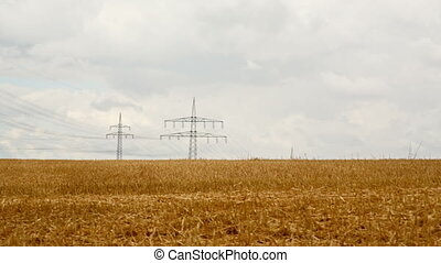 power polls in german fields - driving through fields on a...