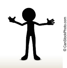 power pose - vector image - 3d man silhouette, isolated on...