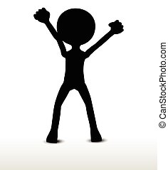 power pose - 3d man silhouette, isolated on white...