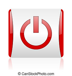 power red and white square web glossy icon
