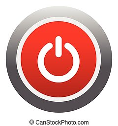Power red button icon, flat style