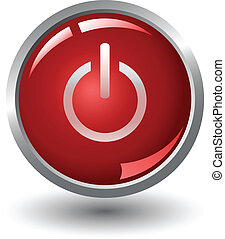 power red button, icons, vector