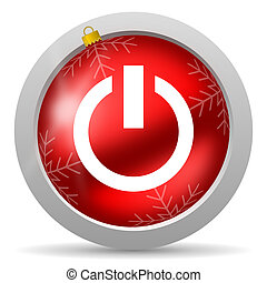 power red glossy christmas icon on white background