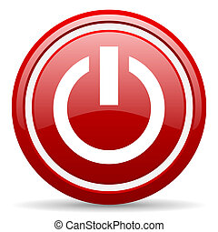 power red glossy icon on white background