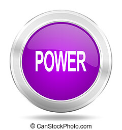 power round glossy pink silver metallic icon, modern design web element