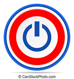 Power round icon, red, blue and white french design illustration for web, internet and mobile applications