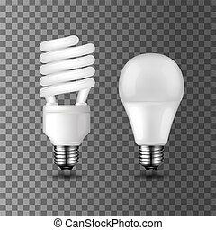 Power save and energy saving vector light bulbs - Energy...