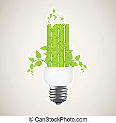 Power saving - Paper sticker of floral power saving lamp....