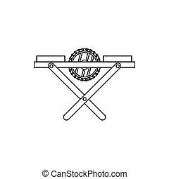 power-saw, 長凳, 圖象, outline, 風格