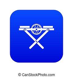 Power saw bench icon digital blue