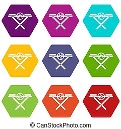 Power saw bench icon set color hexahedron