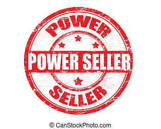 Grunge rubber stamp with the text Power Seller written inside