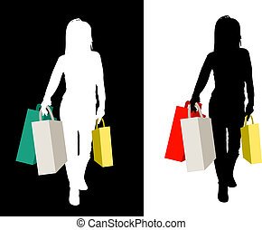 Power shopper - Two variations of a female shopper