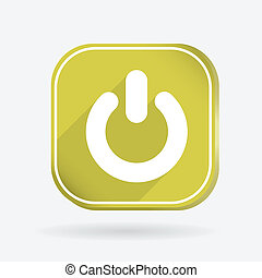 power sign. on off. Color square icon