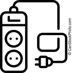 Power socket extender icon, outline style