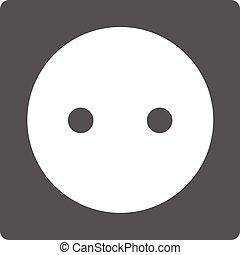 Power socket icon, black simple style