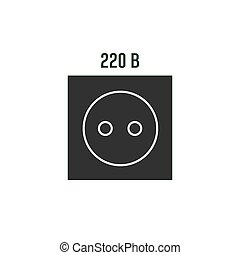 Power socket icon. Electric wall outlet, 220 volt symbol in vector simple flat style.
