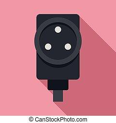 Power socket icon, flat style