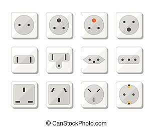 Power socket icon set. World standards for different country plugs