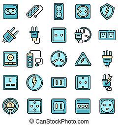 Power socket icons flat