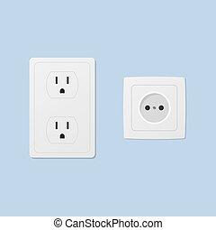 Power socket isolated on blue background