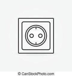 Power socket linear icon