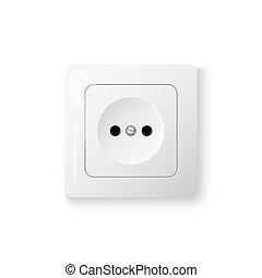 Power socket on wall, 3d realistic object