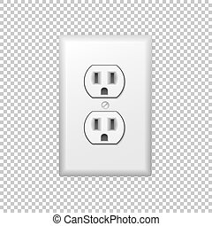 Realistic plastic power socket isolated on a transparent background.