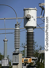 Power distribution equipment in an electrical sub-station somewhere in Central Florida.