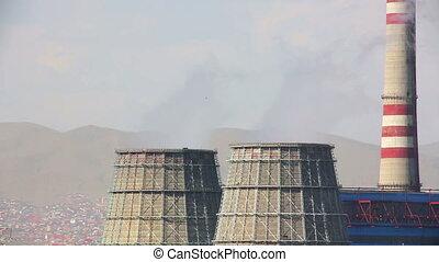 Power station and Ulaanbaatar cityscape, Mongolia