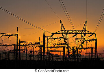 Power station at sunset,Macedonia