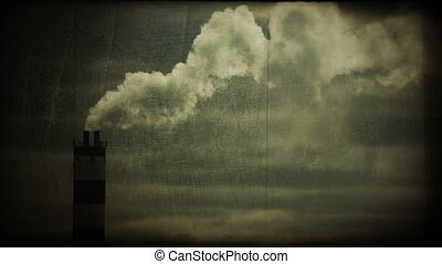 Power station chimneys polluting the atmosphere, vintage...