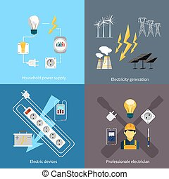 Power station energy icons