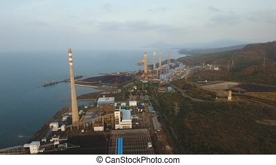 Power station. Indonesia, Jawa island. - Aerial view Power...