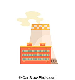 Power station, industrial building vector illustration