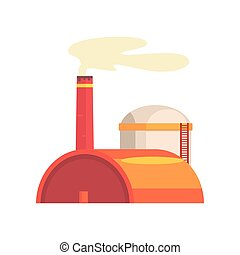 Power station, industrial manufactury building vector illustration