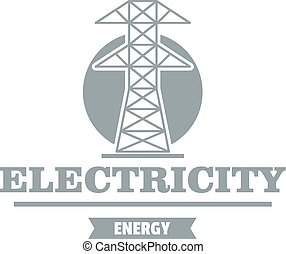 Power station logo, simple gray style