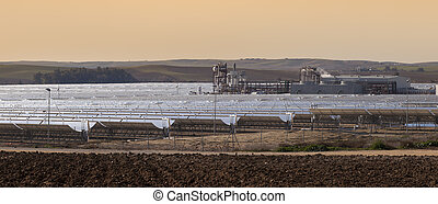 power station of solar parabolic energy near Seville, Andalusia, Spain