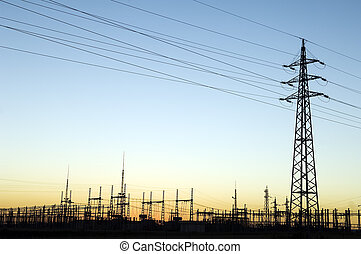 Power station - Power substation and pylon with distribution...