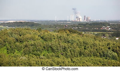 Power station seen from a hill - A lignite fired power...